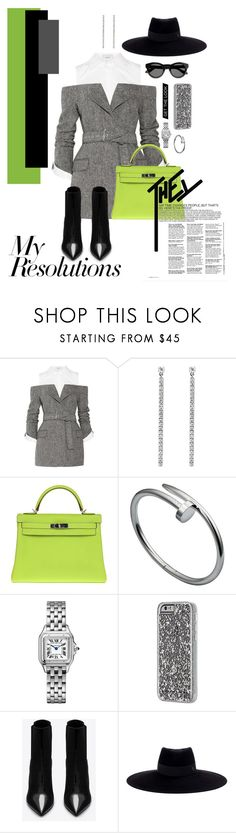 """""""#PolyPresents: New Year's Resolutions"""" by sekaiyeol ❤ liked on Polyvore featuring Monse, Messika, Hermès, Cartier, Case-Mate, Yves Saint Laurent, Maison Michel, Givenchy, contestentry and polyPresents"""