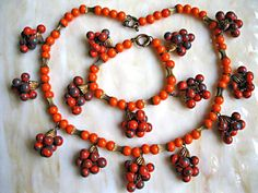 Glass Berry Cluster Necklace Bracelet, Drop Swirled Pumpkin Slate Beads, Vintage Art Glass, Russet Golden Orange Autumn Fall Harvest Colors by GemParlor on Etsy