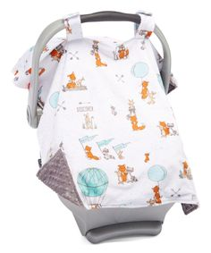 Gray Woodland Friends Car Seat Canopy