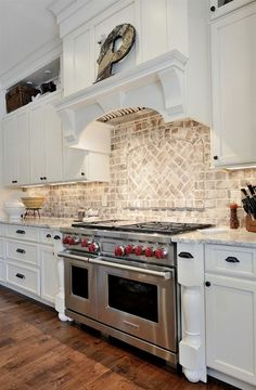 Kitchen with granite countertop and brick backsplash. CR Home Design K&B (Construction Resources). Kitchen with granite countertop and brick backsplash. CR Home Design K&B (Construction Resources). White Kitchen Backsplash, Kitchen Redo, Rustic Kitchen, New Kitchen, Colonial Kitchen, Kitchen Ideas, Whitewash Brick Backsplash, Awesome Kitchen, Herringbone Backsplash