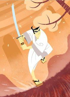 Samurai Jack on Behance Cartoon Network Shows, Cartoon Shows, Old Cartoons, Classic Cartoons, Cartoon Drawings, Cartoon Art, Cartoon Characters, Samurai Jack Wallpapers, Samurai Bravo