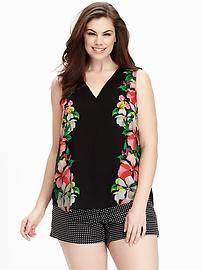 Women's Plus Floral Sleeveless V-Neck Tops