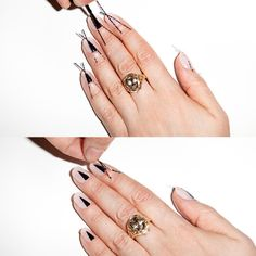 The Half-Moon Mani Gets a (Sharp) Twist : Step 3: Cover the triangular area with your black polish  Take the tape off each nail before you move on to the next hand.