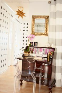 "Love this ~~ ""Radiant Orchid Secretary Desk Makeover"" Home Office Design, Home Office Decor, Diy Home Decor, Room Decor, House Design, By Any Means Necessary, Desk Makeover, Guest Room Office, Secretary Desks"