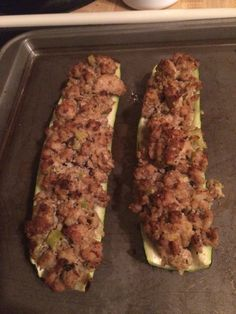 Ground Turkey Stuffed Zucchinis!! This was amazing!! Sautéed 1/2 diced onion, 2 stalks diced celery, 1/2 cup diced mushrooms, 1clove diced garlic, 1 TBsp Fennel seed - when soft, add 1lb ground turkey, poultry seasoning, salt/pepper to taste, when browned add 3 TBsp almond flour. Remove from skillet & cool, whisk 1 egg & add to mixture, stuff in zucchini boats. Original recipe: http://www.simplyrecipes.com/m/recipes/stuffed_zucchini_with_turkey_sausage/
