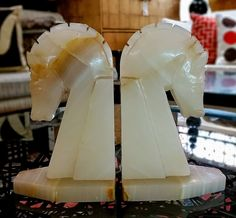 PAIR Yellow Jade Horse Head Bookends $96