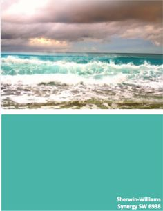 This is a beautiful color. Although the photo shows the ocean in turmoil, I find it to be a very calm and serene color. Sherwin-Williams Synergy SW 6938 #globalcolor