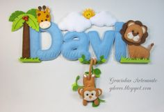 Safari themed name banner Gracinhas Artesanato