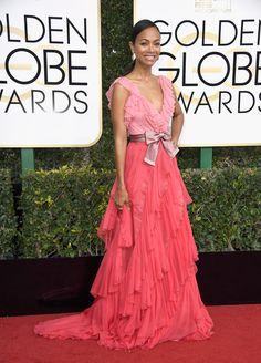 Zoe Saldana in Gucci gown - 2017 Golden Globes Awards. (8 January 2017)