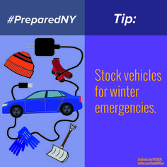 The right supplies can make being stranded or stuck on the road safer. Stock your vehicles with blankets, hats, gloves, socks, a shovel, hand and feet warmers, ice scraper and a phone charger. Remind loved ones to pack these items, especially when travelling. www.Facebook.com/NYSDOH