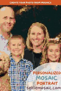 """Personalized Family Mosaic Portrait 40x30"""" by SelfieMosaic. Custom Bricked Wall Art / Family Mosaic Photo Puzzle / Unique Personalized Gift for Christmas. Custom DIY Bricked Mosaic Portrait — Create your own brick wall art"""