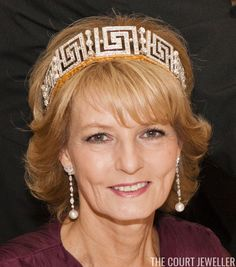 Princess Andrew's Meander Tiara (Photo: Chris Jackson PT/Getty Images ) The Top Ten: Meander Tiaras When tiaras became popular in t. First Daughter, Royal Jewelry, Silver Engagement Rings, Engraved Jewelry, Royal House, Crown Royal, Tiaras And Crowns, Crown Jewels, Queen Victoria