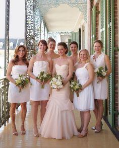 Blush wedding dress and white bridesmaid dresses #fashion