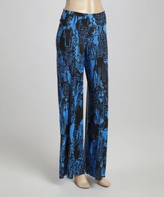 Look what I found on #zulily! Blue & Black Palazzo Pants #zulilyfinds