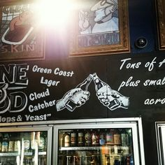 Stone and wood beer mural