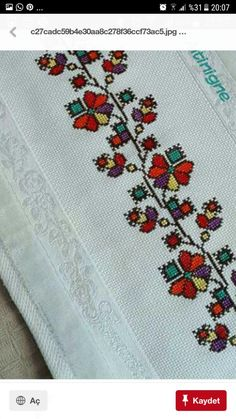 This Pin was discovered by sou Embroidery Neck Designs, Folk Embroidery, Cross Stitch Embroidery, Cross Stitch Borders, Cross Stitch Flowers, Snitches Get Stitches, Wedding Day Timeline, Handicraft, Needlework