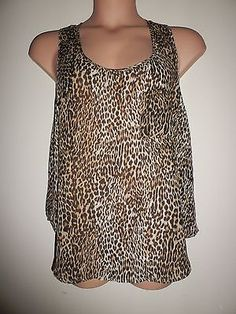 89a7d2eb442 Ladies Size 16 18 Sheer Leopard print Vest top Internacionale Club Party  Used Club Parties