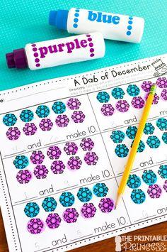 December NO PREP Pages {Literacy and Math Activities for Kindergarten} Numbers Kindergarten, Kindergarten Math Activities, Winter Activities, Math Enrichment, Kindergarten Christmas, Montessori Math, Kindergarten Class, Stem Activities, Math Games