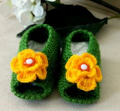 Hand Crocheted Dark Green with Yellow Flowers by BYBERRDESIGNS, $15.00