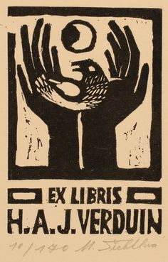 ex libris poster Ex Libris, Linocut Prints, Art Prints, Linoprint, Arte Popular, Man Ray, Tampons, Antique Books, Bird Art
