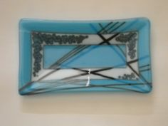 Rectangle Tray with Cyan Blue and Reactive white glass and stringers and cyan frit