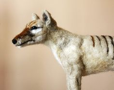 Tasmanian Tiger, needle felted Thylacine, marsupial tiger, needle felting animal saculpture, made to order