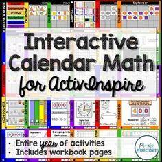 Interactive Calendar Math Program for ActivInspire - Grades 4 Calendar Activities, Math Activities, Math Binder, Promethean Board, Math Pages, Math Blocks, Third Grade Math, Second Grade, Math Boards