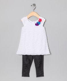 White Ruffle Tunic & Black Leggings - Infant