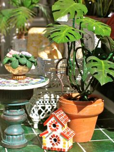 dollhouse plants- made with green masking tape