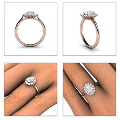 Cluster Moissanite Engagement Ring 14K Oval Halo by RareEarth $1023