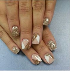 Glitter blocked nails