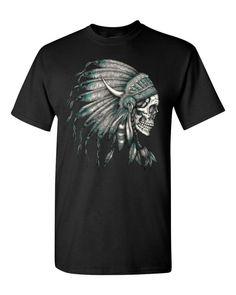 New Skull Headdress T-shirt Native American Shirts Small Black #16919