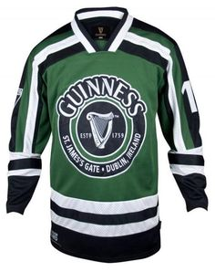 c10eaf950 Guinness Green and White Men s Hockey Jersey