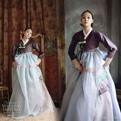 [The Modern Hanbok] Love the fusion of sky blue, sea green, pearlescent ivory and pink Colored Wedding Dresses, Wedding Dress Styles, Bridal Dresses, Traditional Wedding, Korean Traditional Dress, Traditional Fashion, Traditional Outfits, Geisha, Korean Outfits