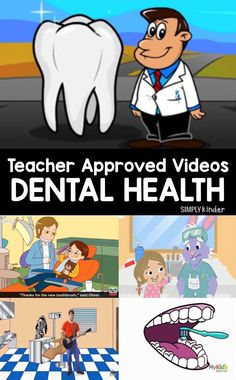 A teacher approved list of dental health videos for preschool, kindergarten, and first grade. These videos cover brushing and making food choices. Dental Health Month, Health Class, Health Lessons, Kids Health, Oral Health, Health Education, Science Education, Physical Education, Kindergarten Science