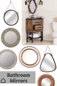 Upgrade your with a unique mirror. Replacing the basic square mirror in most bathrooms can completely transform your space. Try a mirror hanging from burlap rope for a feel. Unique Mirrors, Large Mirrors, Design Blogs, Design Ideas, Bathroom Inspiration, Bathroom Ideas, Bath Ideas, Bathroom Renovations, Bathroom Furniture