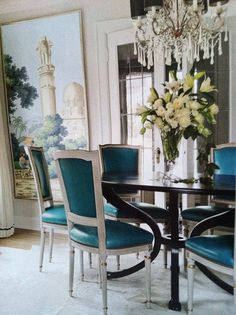 Kellie Grosso in House Beautiful, April,2012. Gorgeous...Zuber Panels, turquoise leather, and a fabulous chandelier...love love love
