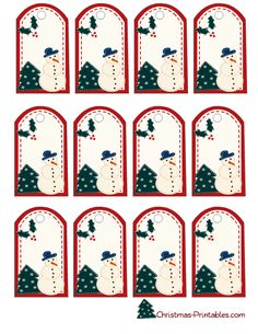 snowman and christmas tree gift tags