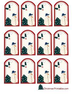 snowman and christmas tree gift tags