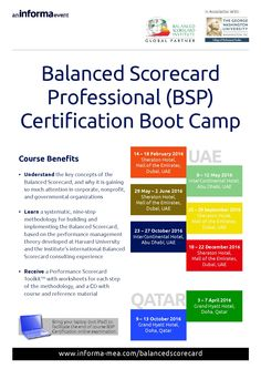Informa ME Business Training: This course covers the entire range of Balanced Scorecard topics - from organisation development, through change management and communications planning, strategic planning, objectives and strategy mapping, performance measures and target setting, strategic initiative prioritization and strategic management. 3 – 7 April 2016 • Grand Hyatt Doha, Doha, Qatar