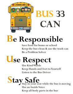 Using Positive Behavior Systems on the School Bus! Using Positive Behavior Systems on the School Bus! School Bus Driving, School Bus Safety, Magic School Bus, School Fun, School Buses, Dog School, School Stuff, Safety Rules For Kids, Safety Week