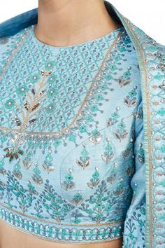 Powdered Blue Wedding Lehenga Choli Online in USA and Australia. For more details and Customization please contact our sales team through Hand Embroidery Dress, Embroidery Fashion, Cushion Embroidery, Embroidery Blouses, Indian Wedding Outfits, Indian Outfits, Kurta Designs, Blouse Designs, Stylish Blouse Design