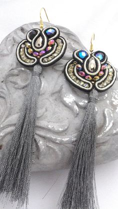 Black Baroque soutache earrings  long earrings  by beadsofaquarius, $60.00