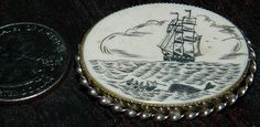 Sweet Vintage Scrimshaw Pin in Sterling by FabricGuysTreasures, $22.95