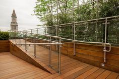 Silhouette Railing System shown with Stainless Steel guardrails and handrails and glass infill at Eaton Vance Investment Managers, Boston, Massachusetts