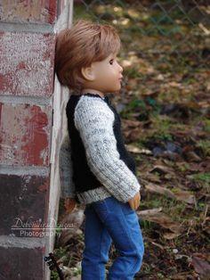 OOAK Hand-Knitted Sweater with Henley Neckline for slim Kidz 'n' Cats boy dolls #DebonairDesigns