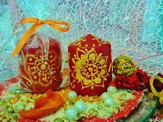 SET DI  CANDELE decorate  candele color bordo di scintilledicolore