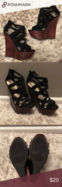 "WORN ONCE!! - platform JustFab Wedges JustFab platform black wedges - worn once - dark faux wood wedge (5"" heel) JustFab Shoes Wedges"