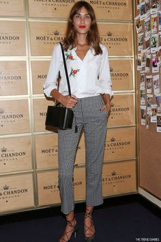 AlexA chung in gingham trousers and embroidered white shirt - love!
