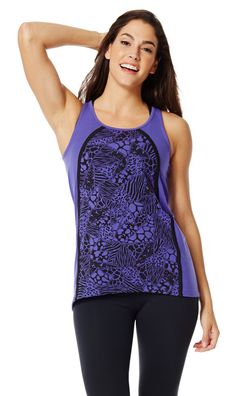 The Sa-Fari So Goody Zumba Tank is all party in the front and business in the back. Hi-lo hem plus an easy fit makes this tank a perfect match... #zumbaracerback #zumbatop #zumbawear #zumbaclothing #zumba